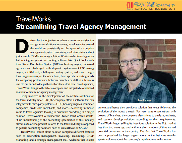 TravelWorks in the spotlights on CIO Review magazine