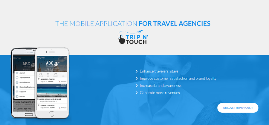 5 major benefits when implementing our Trip N 'Touch mobile application within your travel agency